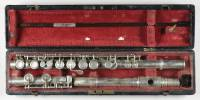 Silver 1867 patent flute, no trill keys, with silver keywork, signed